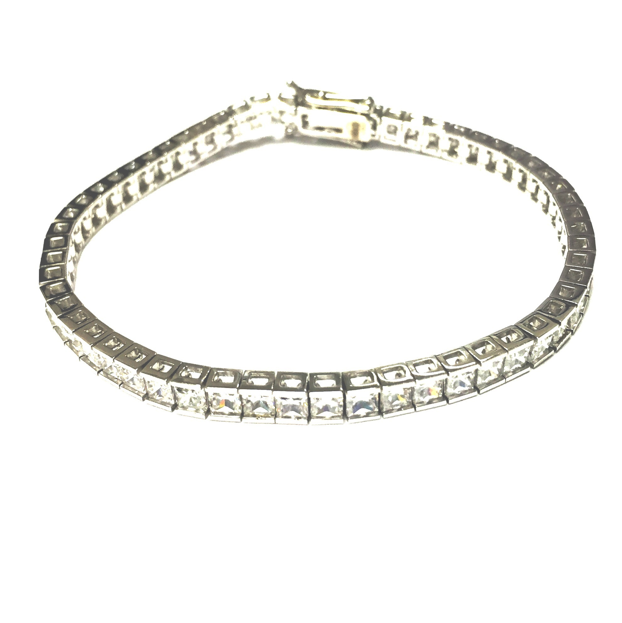 plated bracelet bangle cross rhodium swarovski