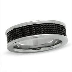 7mm titanium comfort fit band unisex wedding band ring with black ion plating and mesh inlay