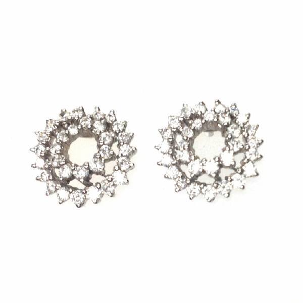 Dazzling Sterling Silver Rhodium White Cz Double Circle Earrings