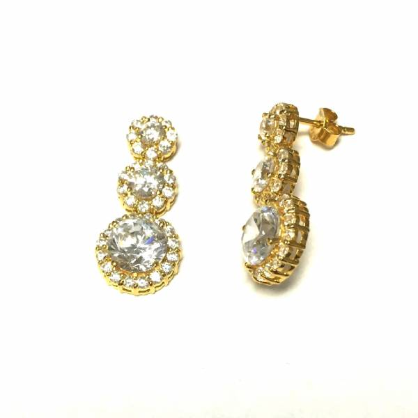 Gold Plated Sterling Silver Cz 3 Stone Earrings