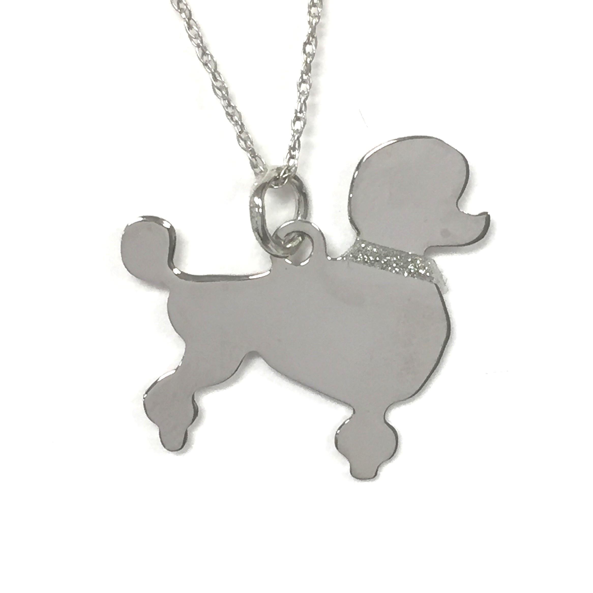 Pointer Glitter Collar Sterling Silver Rhodium Plated Dog Pendant