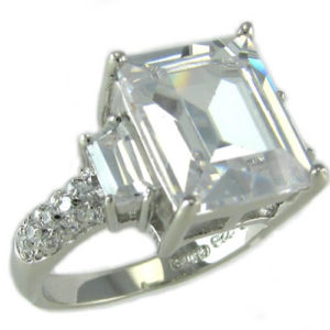 Sterling Silver Emerald Cut Baguette Round CZ Ring