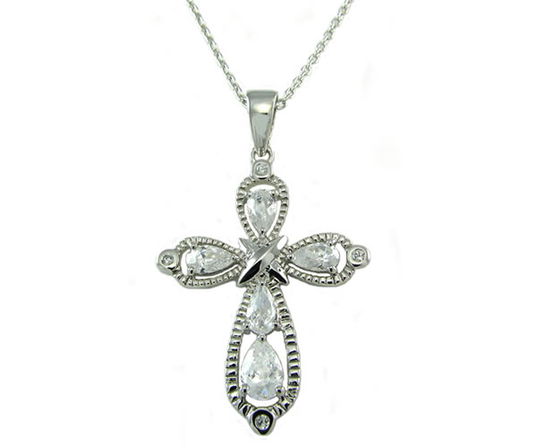 Sterling silver pear cz cross pendant necklace toni bijoux sterling silver pear cz cross pendant necklace mozeypictures Choice Image