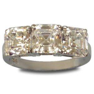 Sterling Silver w/Rhodium Plating 3 Stone CZ Asscher Cut Ring