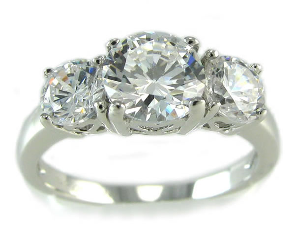 Sterling Silver Round CZ Three Stone 2.25 ctw Ring